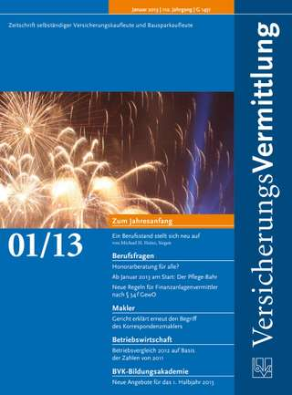 Cover der BVK Mitgliederzeitschrift VersicherungsVermittlung Ausgabe Januar | 2013