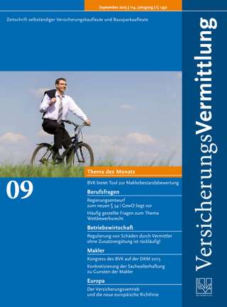 Cover der BVK Mitgliederzeitschrift VersicherungsVermittlung Ausgabe September | 2015