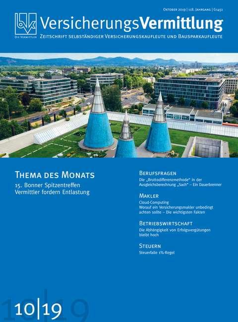 Cover der BVK Mitgliederzeitschrift VersicherungsVermittlung Ausgabe 10   2019