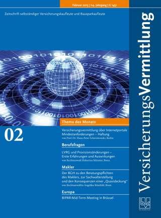 Cover der BVK Mitgliederzeitschrift VersicherungsVermittlung Ausgabe Februar | 2015