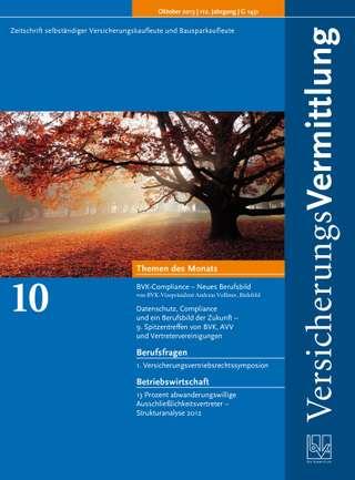 Cover der BVK Mitgliederzeitschrift VersicherungsVermittlung Ausgabe Oktober | 2013