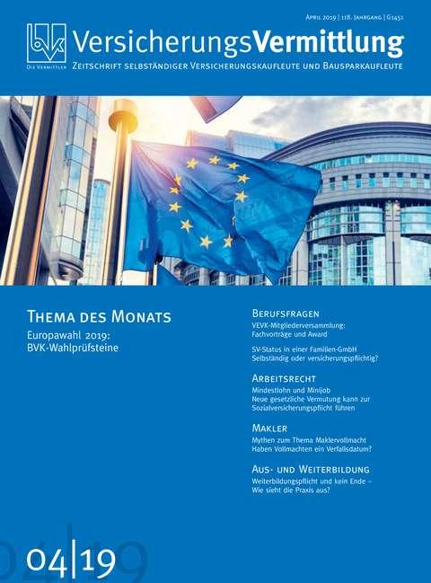 Cover der BVK Mitgliederzeitschrift VersicherungsVermittlung Ausgabe 4 | 2019