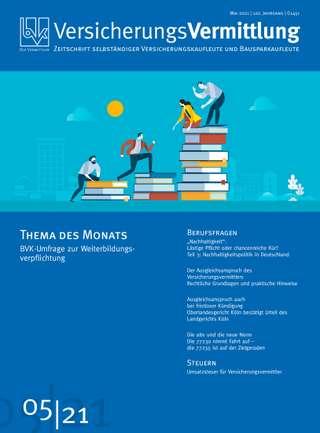 Cover der BVK Mitgliederzeitschrift VersicherungsVermittlung Ausgabe Mai | 2021