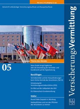 Cover der BVK Mitgliederzeitschrift VersicherungsVermittlung Ausgabe Mai | 2017