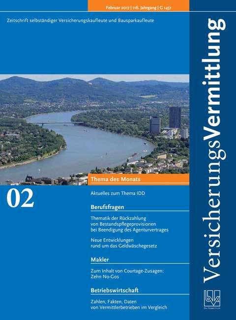 Cover der BVK Mitgliederzeitschrift VersicherungsVermittlung Ausgabe 2 | 2017