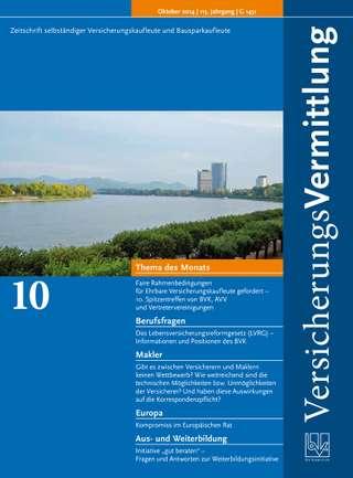 Cover der BVK Mitgliederzeitschrift VersicherungsVermittlung Ausgabe Oktober | 2014