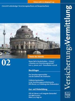 Cover der BVK Mitgliederzeitschrift VersicherungsVermittlung Ausgabe Februar | 2018