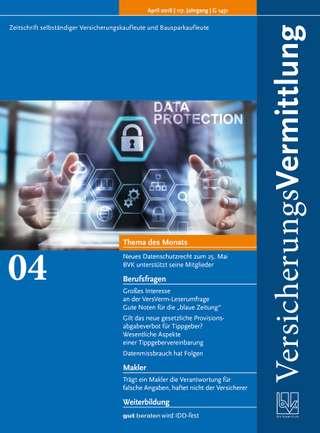 Cover der BVK Mitgliederzeitschrift VersicherungsVermittlung Ausgabe April | 2018