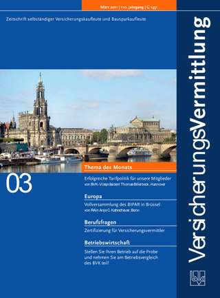 Cover der BVK Mitgliederzeitschrift VersicherungsVermittlung Ausgabe März | 2011