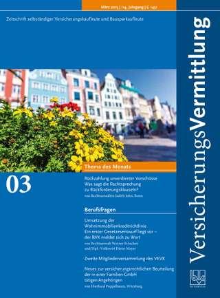 Cover der BVK Mitgliederzeitschrift VersicherungsVermittlung Ausgabe März | 2015
