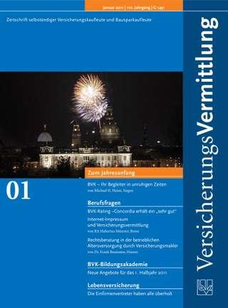 Cover der BVK Mitgliederzeitschrift VersicherungsVermittlung Ausgabe Januar | 2011