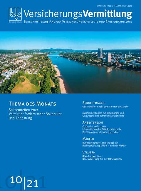 Cover der BVK Mitgliederzeitschrift VersicherungsVermittlung Ausgabe 10 | 2021