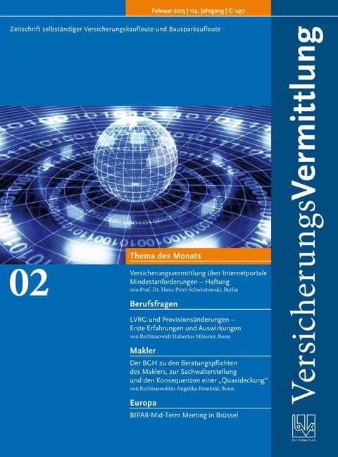 Cover der BVK Mitgliederzeitschrift VersicherungsVermittlung Ausgabe 2 | 2015