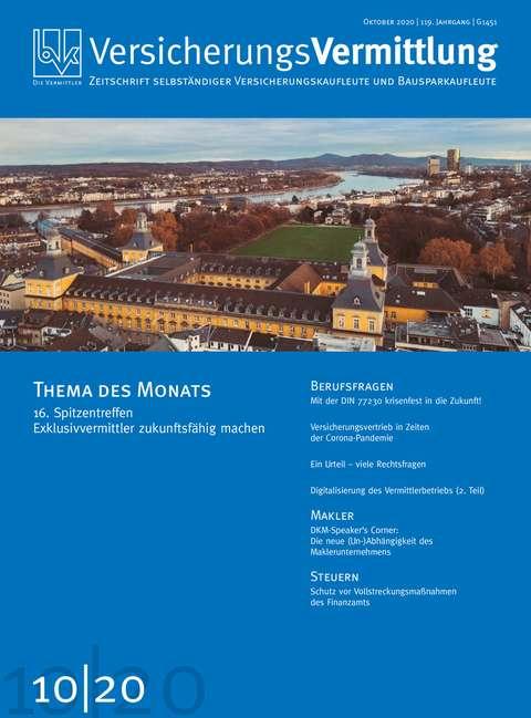 Cover der BVK Mitgliederzeitschrift VersicherungsVermittlung Ausgabe 10 | 2020