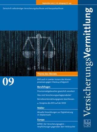 Cover der BVK Mitgliederzeitschrift VersicherungsVermittlung Ausgabe September | 2017