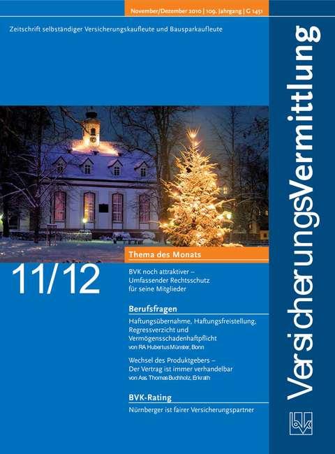 Cover der BVK Mitgliederzeitschrift VersicherungsVermittlung Ausgabe 11/12   2010