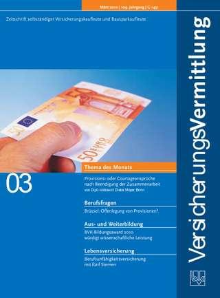 Cover der BVK Mitgliederzeitschrift VersicherungsVermittlung Ausgabe März | 2010