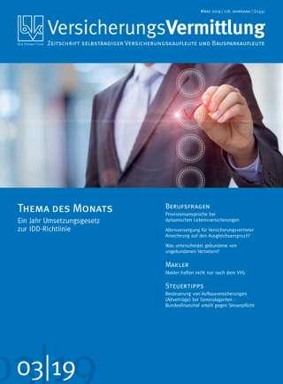 Cover der BVK Mitgliederzeitschrift VersicherungsVermittlung Ausgabe März | 2019