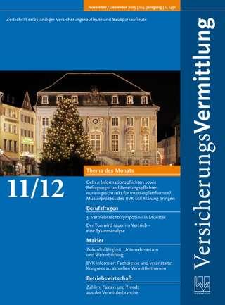 Cover der BVK Mitgliederzeitschrift VersicherungsVermittlung Ausgabe Nov./Dez. | 2015