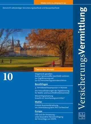 Cover der BVK Mitgliederzeitschrift VersicherungsVermittlung Ausgabe Oktober | 2016