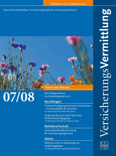 Cover der BVK Mitgliederzeitschrift VersicherungsVermittlung Ausgabe 7/8   2013