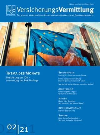 Cover der BVK Mitgliederzeitschrift VersicherungsVermittlung Ausgabe Februar | 2021