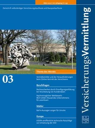 Cover der BVK Mitgliederzeitschrift VersicherungsVermittlung Ausgabe März | 2017