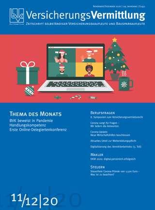Cover der BVK Mitgliederzeitschrift VersicherungsVermittlung Ausgabe Nov./Dez. | 2020