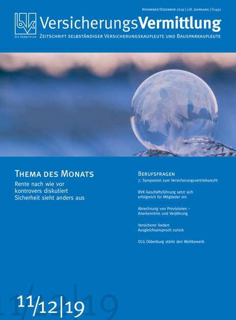 Cover der BVK Mitgliederzeitschrift VersicherungsVermittlung Ausgabe 11/12   2019