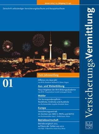 Cover der BVK Mitgliederzeitschrift VersicherungsVermittlung Ausgabe Januar | 2014