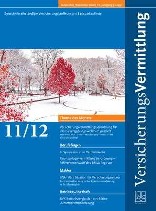 Cover der BVK Mitgliederzeitschrift VersicherungsVermittlung Ausgabe Nov./Dez. | 2018