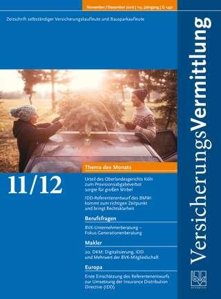 Cover der BVK Mitgliederzeitschrift VersicherungsVermittlung Ausgabe Nov./Dez. | 2016