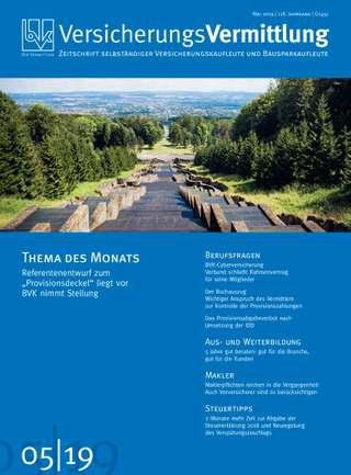 Cover der BVK Mitgliederzeitschrift VersicherungsVermittlung Ausgabe Mai | 2019