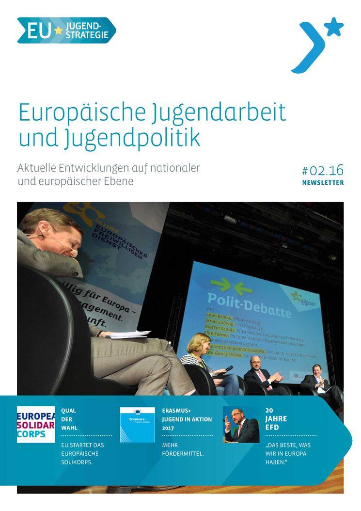 Titel Newsletter EU-Jugendstrategie - Diskussion auf dem Festakt 20 Jahre Europäischer Freiwilligendienst mit Martin Schulz