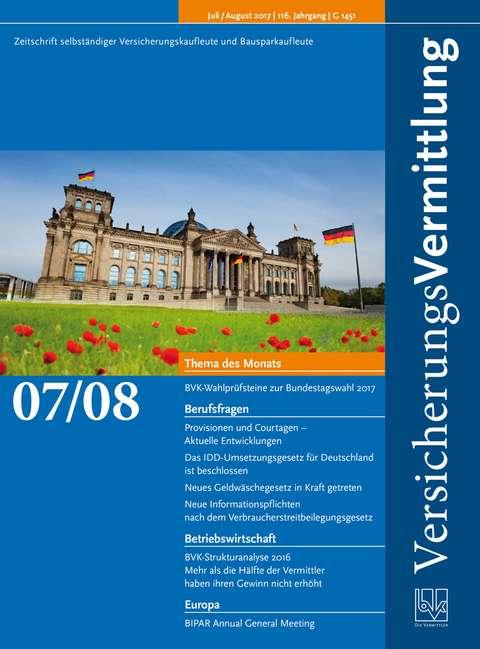 Cover der BVK Mitgliederzeitschrift VersicherungsVermittlung Ausgabe 7/8 | 2017