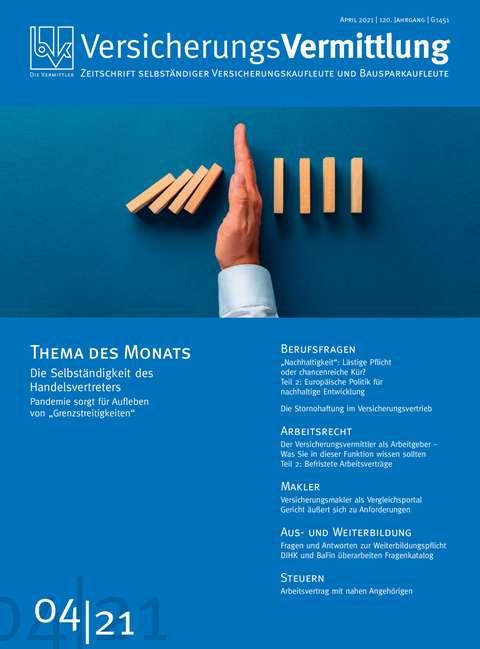 Cover der BVK Mitgliederzeitschrift VersicherungsVermittlung Ausgabe 4   2021