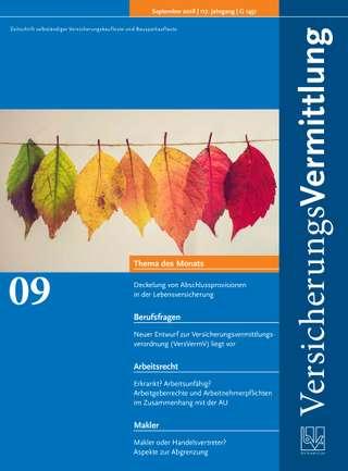 Cover der BVK Mitgliederzeitschrift VersicherungsVermittlung Ausgabe September | 2018