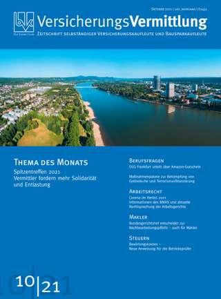 Cover der BVK Mitgliederzeitschrift VersicherungsVermittlung Ausgabe Oktober | 2021