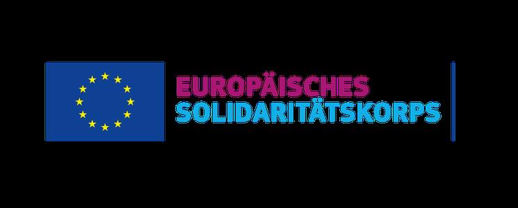 Logo EU-Fahne mit Schriftzug Europäisches Solidaritätskorps