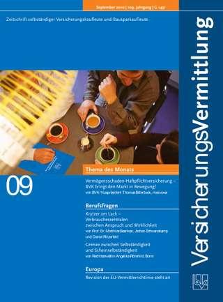 Cover der BVK Mitgliederzeitschrift VersicherungsVermittlung Ausgabe September | 2010