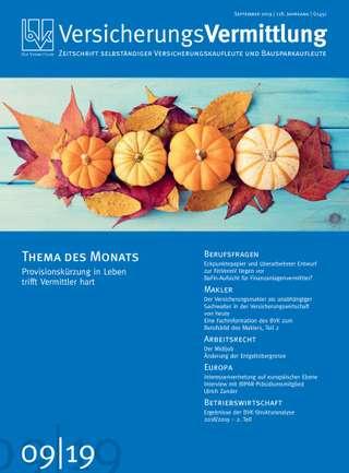 Cover der BVK Mitgliederzeitschrift VersicherungsVermittlung Ausgabe September | 2019