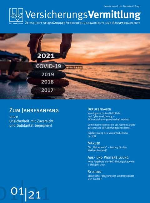 Cover der BVK Mitgliederzeitschrift VersicherungsVermittlung Ausgabe 1 | 2021