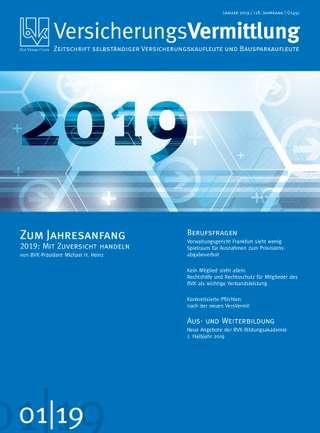 Cover der BVK Mitgliederzeitschrift VersicherungsVermittlung Ausgabe Januar | 2019