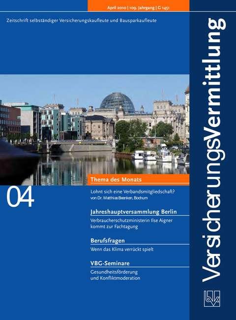 Cover der BVK Mitgliederzeitschrift VersicherungsVermittlung Ausgabe 4 | 2010