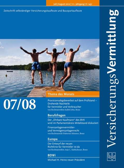 Cover der BVK Mitgliederzeitschrift VersicherungsVermittlung Ausgabe 7/8 | 2012
