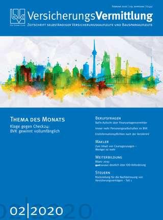 Cover der BVK Mitgliederzeitschrift VersicherungsVermittlung Ausgabe Februar | 2020