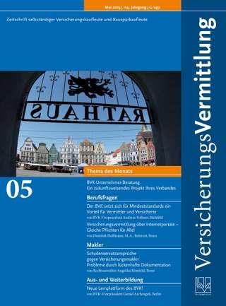 Cover der BVK Mitgliederzeitschrift VersicherungsVermittlung Ausgabe Mai | 2015