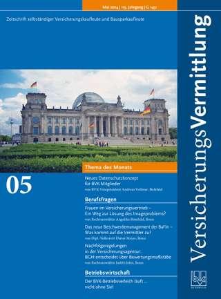 Cover der BVK Mitgliederzeitschrift VersicherungsVermittlung Ausgabe Mai | 2014