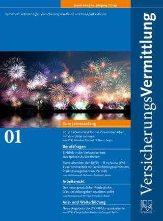 Cover der BVK Mitgliederzeitschrift VersicherungsVermittlung Ausgabe Januar | 2015