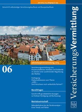 Cover der BVK Mitgliederzeitschrift VersicherungsVermittlung Ausgabe Juni | 2015